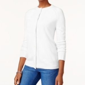 Karen Scott XL Luxsoft Crew-Neck Cardigan White